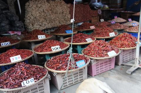 スコータイ市街の市場マーケット周辺唐辛子・ペッパー画像